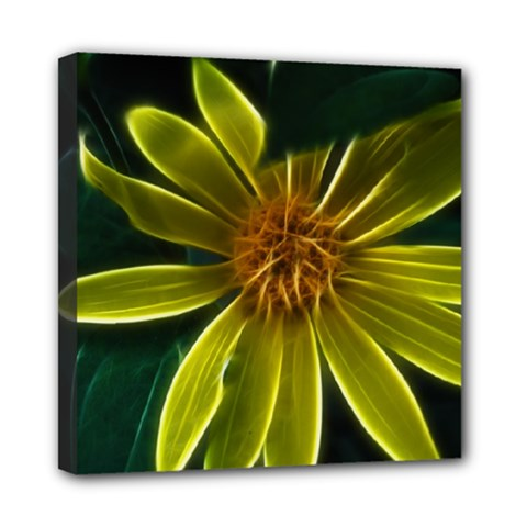 Yellow Wildflower Abstract Mini Canvas 8  X 8  (framed)