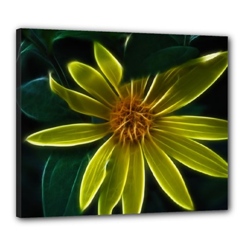 Yellow Wildflower Abstract Canvas 24  x 20  (Framed)