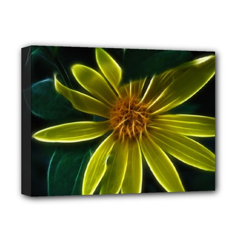 Yellow Wildflower Abstract Deluxe Canvas 16  x 12  (Framed)