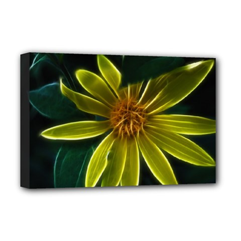 Yellow Wildflower Abstract Deluxe Canvas 18  x 12  (Framed)
