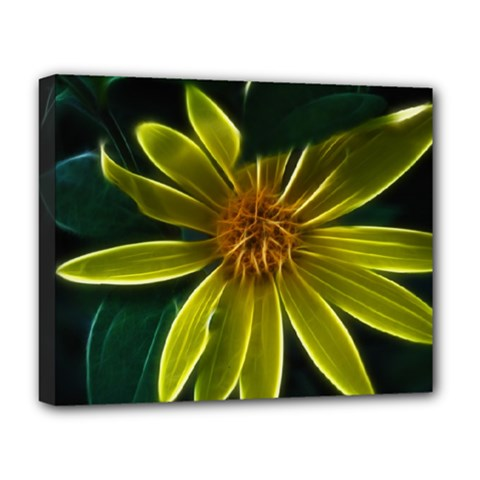 Yellow Wildflower Abstract Deluxe Canvas 20  x 16  (Framed)