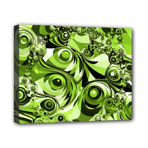 Retro Green Abstract Canvas 10  x 8  (Framed)