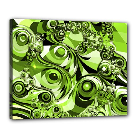 Retro Green Abstract Canvas 20  x 16  (Framed)