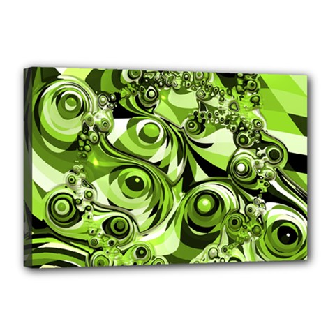Retro Green Abstract Canvas 18  x 12  (Framed)