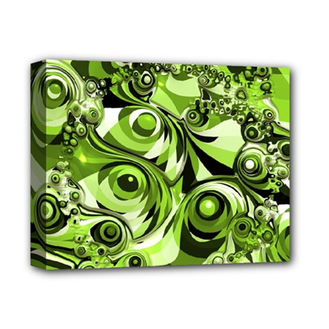 Retro Green Abstract Deluxe Canvas 14  x 11  (Framed)
