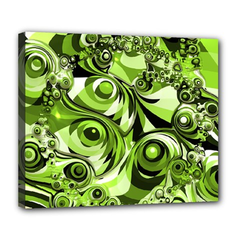 Retro Green Abstract Deluxe Canvas 24  x 20  (Framed)