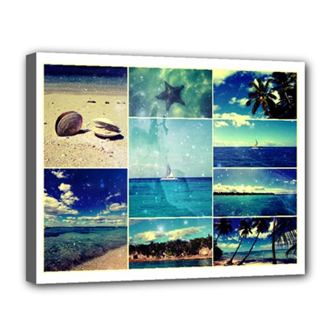 Starry Starry Caribbean Collage Canvas 14  x 11  (Framed)