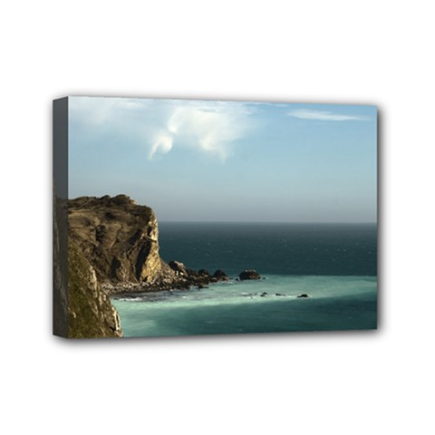 Dramatic Seaside Picture Mini Canvas 7  x 5  (Stretched)