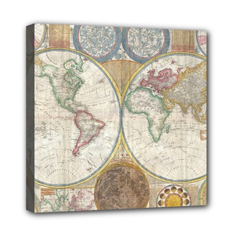 1794 World Map Mini Canvas 8  x 8  (Framed)