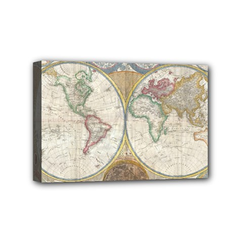 1794 World Map Mini Canvas 6  x 4  (Framed)