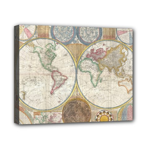 1794 World Map Canvas 10  x 8  (Framed)
