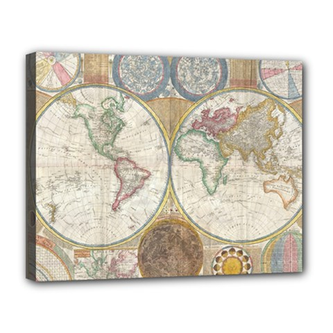 1794 World Map Canvas 14  X 11  (framed)