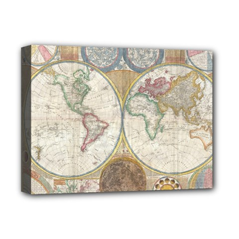 1794 World Map Deluxe Canvas 16  X 12  (framed)