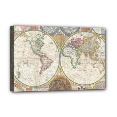 1794 World Map Deluxe Canvas 18  x 12  (Framed)
