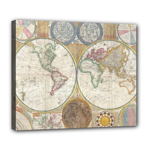1794 World Map Deluxe Canvas 24  x 20  (Framed)