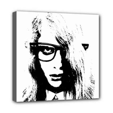 Hipster Zombie Girl Mini Canvas 8  x 8  (Framed)
