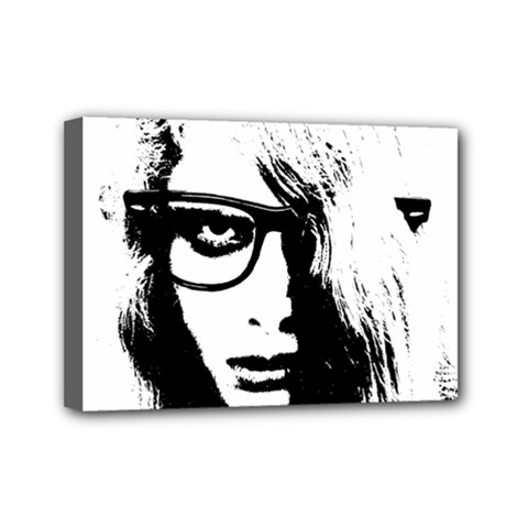 Hipster Zombie Girl Mini Canvas 7  X 5  (framed)