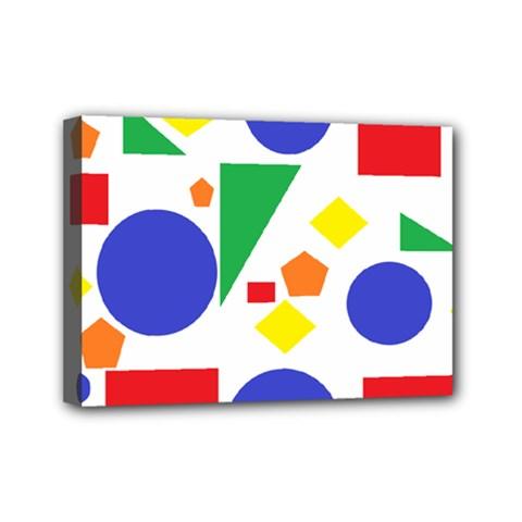 Random Geometrics Mini Canvas 7  x 5  (Framed)