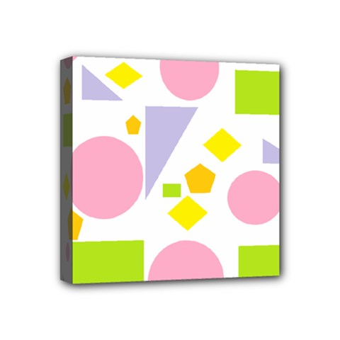 Spring Geometrics Mini Canvas 4  X 4  (framed)