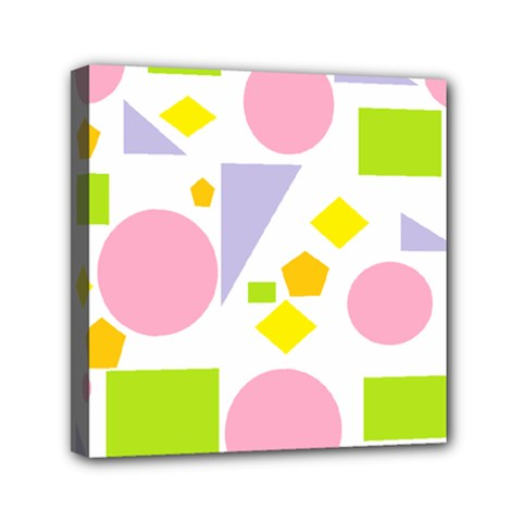 Spring Geometrics Mini Canvas 6  X 6  (framed)