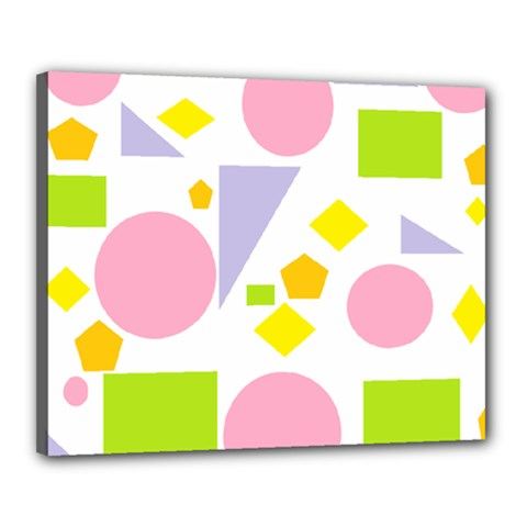 Spring Geometrics Canvas 20  x 16  (Framed)