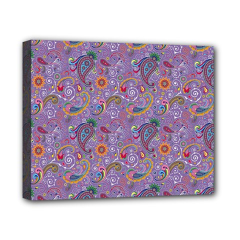 Purple Paisley Canvas 10  x 8  (Framed)