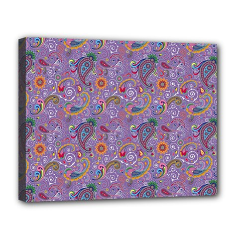 Purple Paisley Canvas 14  x 11  (Framed)