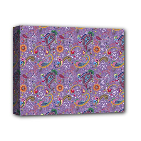 Purple Paisley Deluxe Canvas 14  X 11  (framed)