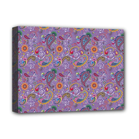 Purple Paisley Deluxe Canvas 16  X 12  (framed)