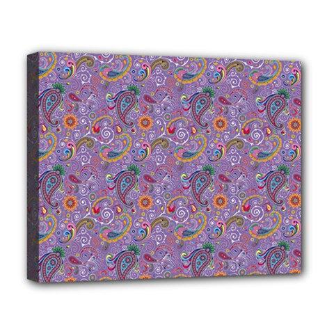 Purple Paisley Deluxe Canvas 20  x 16  (Framed)