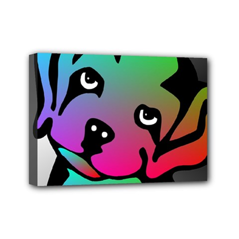 Dog Mini Canvas 7  x 5  (Framed)