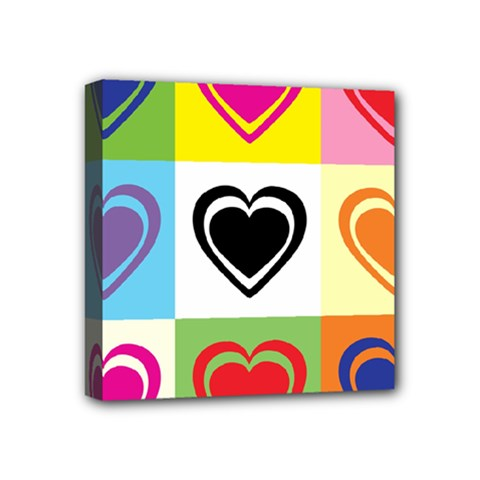 Hearts Mini Canvas 4  X 4  (framed)
