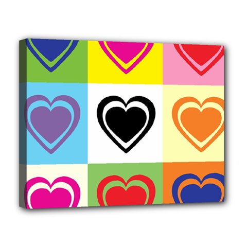 Hearts Canvas 14  x 11  (Framed)