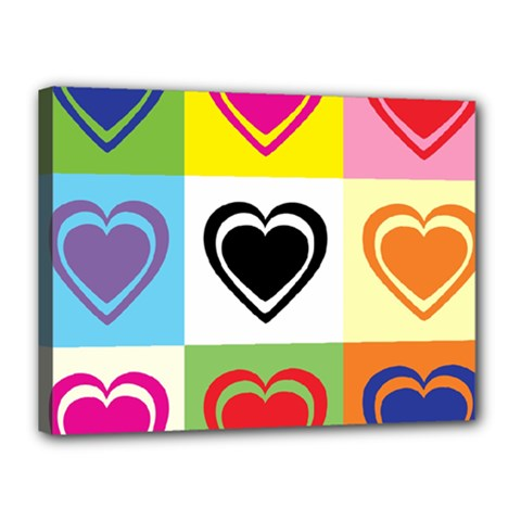 Hearts Canvas 16  x 12  (Framed)