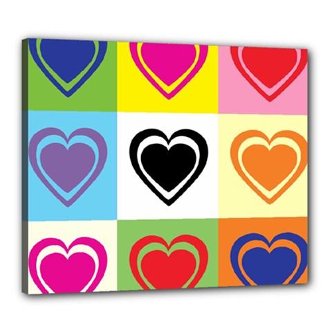 Hearts Canvas 24  X 20  (framed)