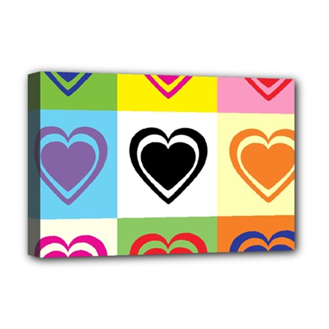 Hearts Deluxe Canvas 18  x 12  (Framed)