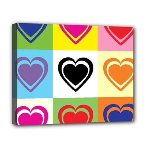 Hearts Deluxe Canvas 20  x 16  (Framed)