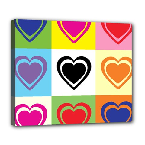 Hearts Deluxe Canvas 24  x 20  (Framed)