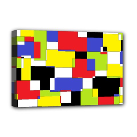 Mod Geometric Deluxe Canvas 18  X 12  (framed)