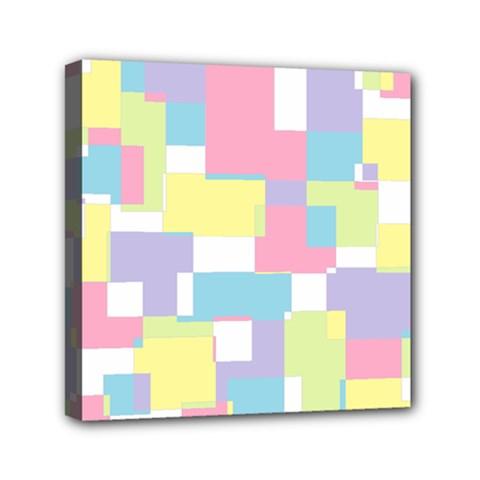 Mod Pastel Geometric Mini Canvas 6  x 6  (Framed)
