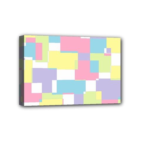 Mod Pastel Geometric Mini Canvas 6  x 4  (Framed)