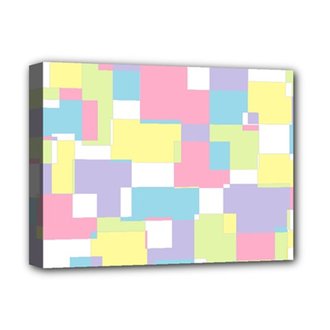 Mod Pastel Geometric Deluxe Canvas 16  x 12  (Framed)