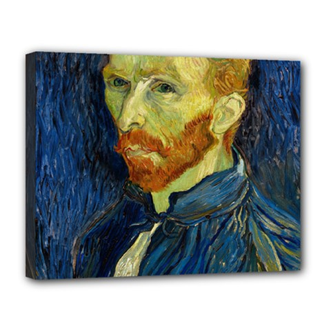 Vincent Van Gogh Self Portrait With Palette Canvas 14  x 11  (Framed)