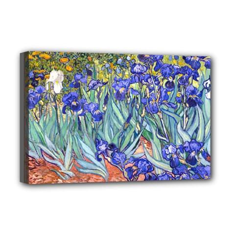 Vincent Van Gogh Irises Deluxe Canvas 18  x 12  (Framed)