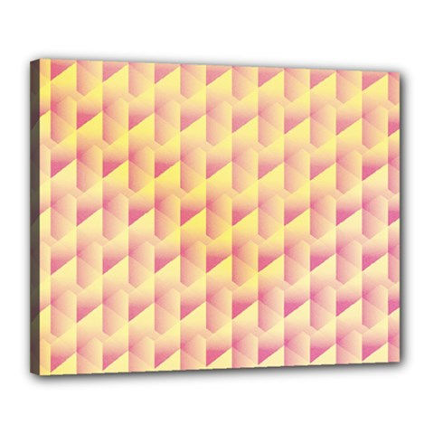 Geometric Pink & Yellow  Canvas 20  x 16  (Framed)