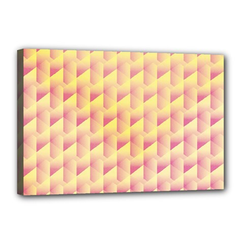 Geometric Pink & Yellow  Canvas 18  x 12  (Framed)