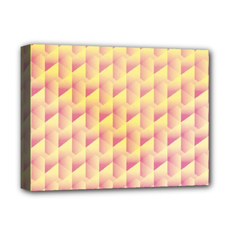 Geometric Pink & Yellow  Deluxe Canvas 16  x 12  (Framed)