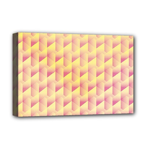 Geometric Pink & Yellow  Deluxe Canvas 18  x 12  (Framed)