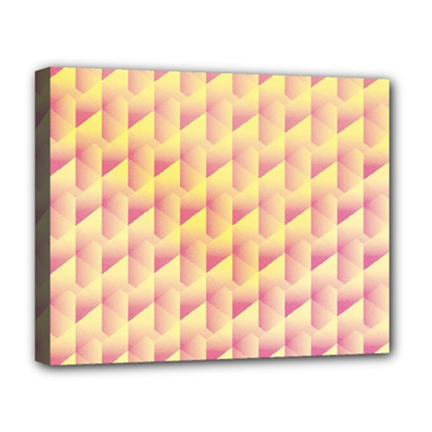 Geometric Pink & Yellow  Deluxe Canvas 20  x 16  (Framed)