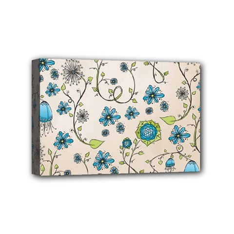 Whimsical Flowers Blue Mini Canvas 6  x 4  (Framed)